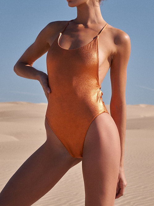 Orange Metallic Swimsuit