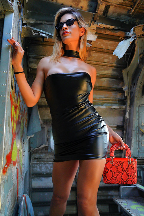 Faux Leather Body-con Dress