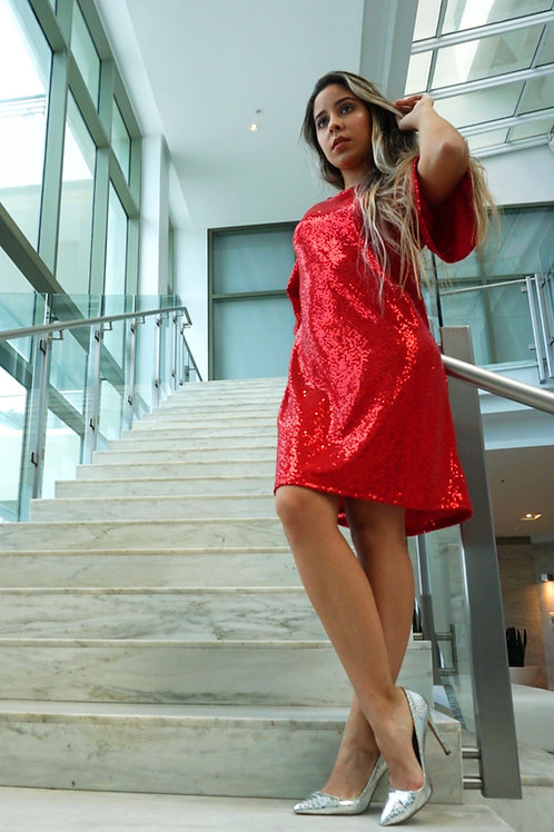 Red Sequins Short Dress