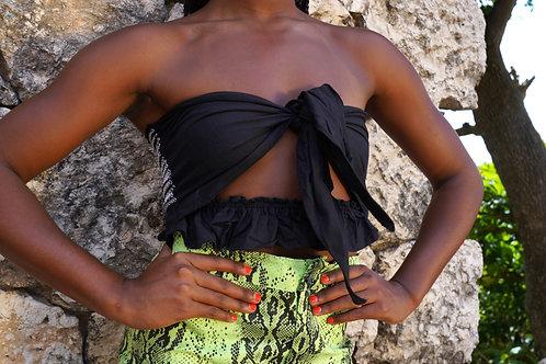 Black Bow Crop Top