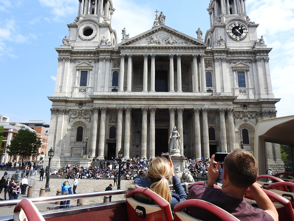 View of the portico of Saint Paul's Cathedral driving by on a your bus