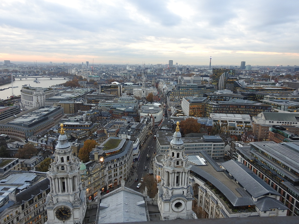 View from the Golden Gallery above the spires, Saint Paul's Cathedral
