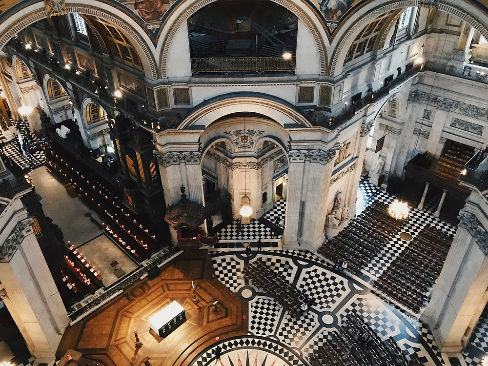 A photo peering down at the floor of Saint Paul's Cathedral from above