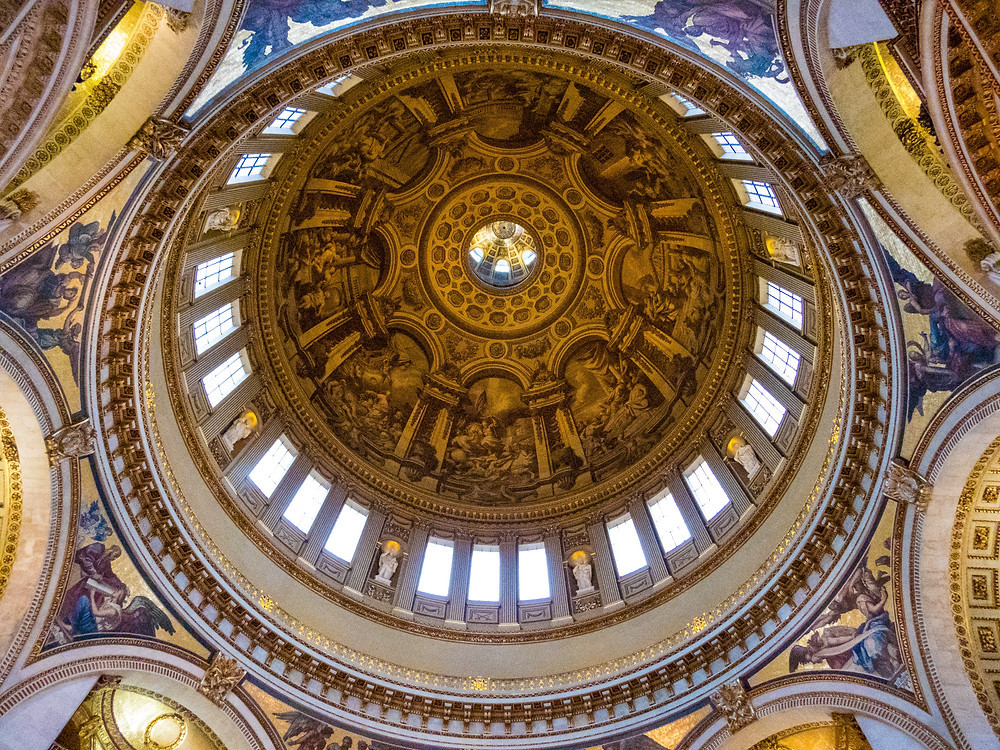 A view of from below of the dome of Saint Paul's Cathedral