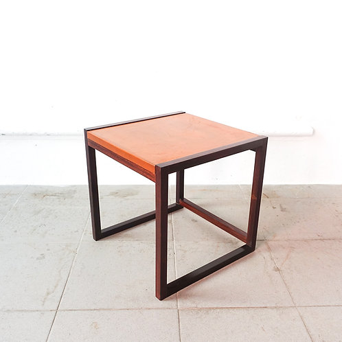 Small Danish Side Table in Rosewood & Leather, 1960's