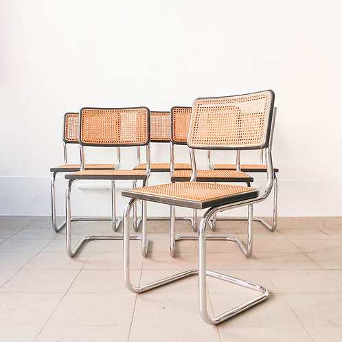 Set of 6 'Cesca' B32 Side Chairs by Marcel Breuer, 1970's