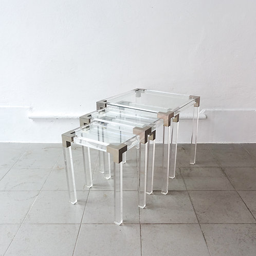 Set of 3 Lucite Nesting tables, France, 1970's