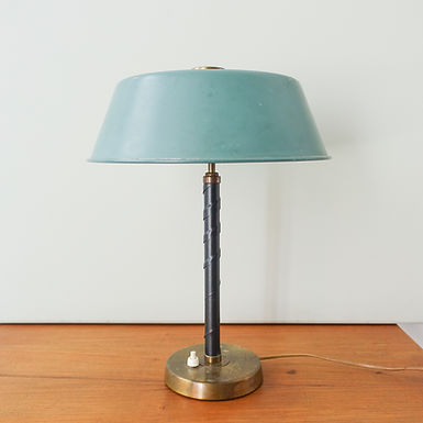 Table Lamp in Brass and Leather by Einar Backstrom, 1940s
