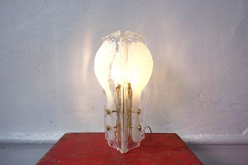 J. T. Kalmar Three-Petal Icicle Flower, Melting Glass Table Lamp, 1960's