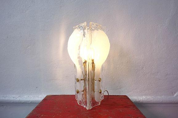 J. T. Kalmar Three-Petal Icicle Flower, Melting Glass Table Lamp, 1960's