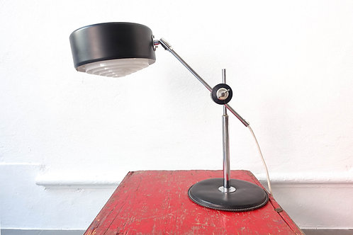 Mid-Century Simris Black Leather & Chrome Desk Lamp by Anders Pehrson for Ateljé