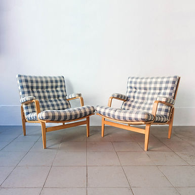 Pair of Model Ingrid Birch & Fabric Lounge Chairs by Bruno Mathsson for Dux, 196