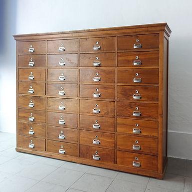 Portuguese Industrial Oak 32 Drawer Filing Cabinet, 1940s