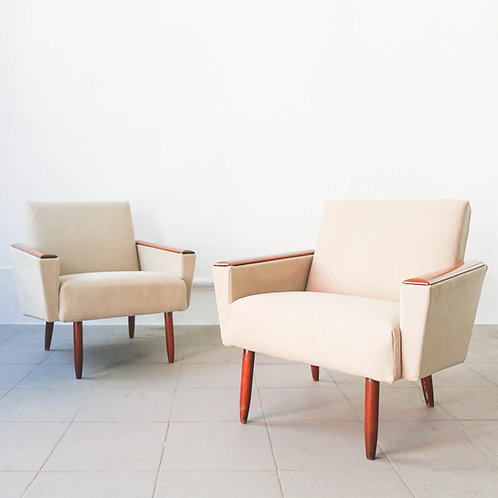 Pair of Mid Century Danish Armchairs, 1950's