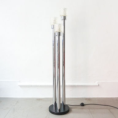 Vintage Chrome and Glass Floor Lamp, 1970's