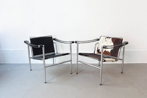 Pair of Armchairs LC1 from Perriand, Jeanneret and Le Corbusier, 1970's