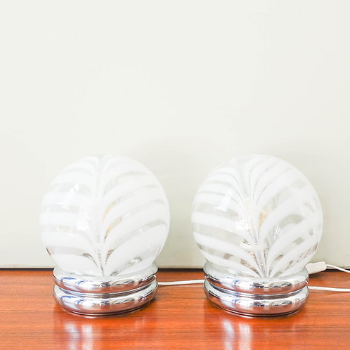 Chrome and Glass Pair of Table Lamps by Marinha Grande, 1970's
