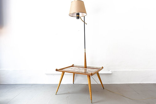 50's Table / Lamp in Ash Wood and Undianuno Wood