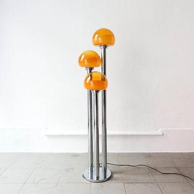 Chrome and Mustard Floor Lamp by Marinha Grande, 1970's