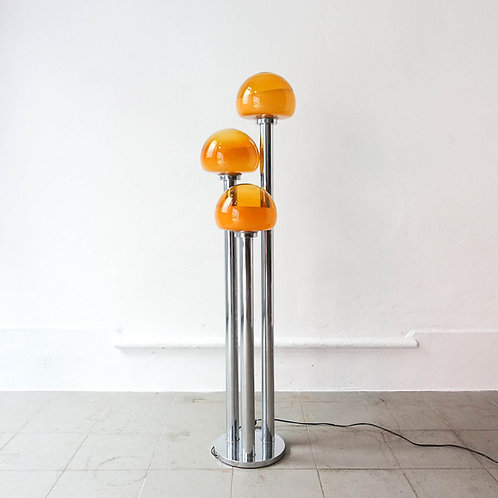 Chrome and Mustard Floor Lamp by Marinha Grande, 1970's