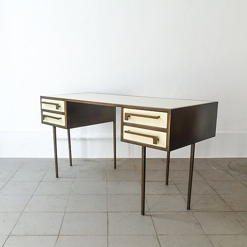 Midcentury Custom Made Cartier Brass and Lacquered Wood Desk, 1970's