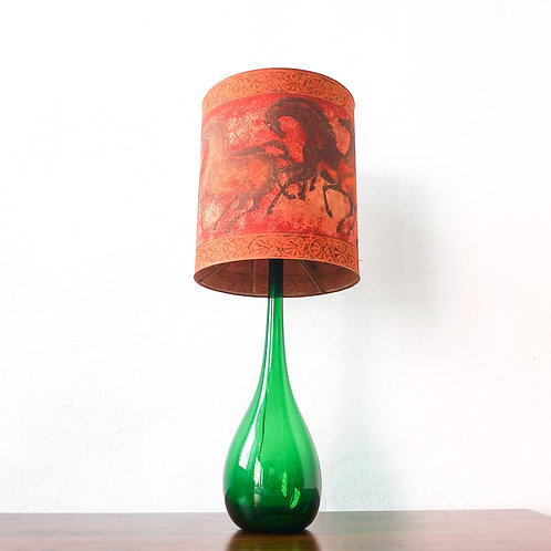Green Glass Table Lamp from Marinha Grande, 1960's