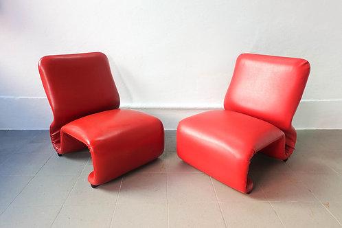 Pair of Etcetera Low Chairs by Jan Ekselius, 1970's