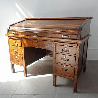 Industrial Portuguese Oak-wood Tambour Door Desk