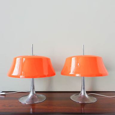 Danish Orange & Chrome Table Lamps by Frank J Bentler for Bentler