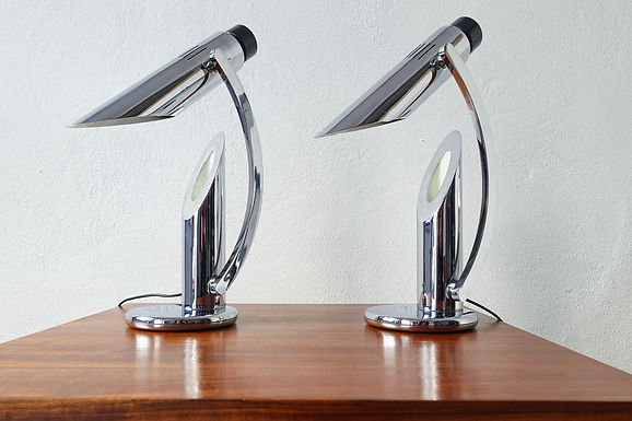 Tharsis Foldable Chrome Table Lamp from Fase, Chromed Version with curved arm, 1