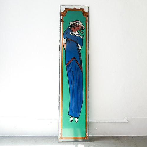 Antique Art Nouveau Stained Window Glass by Covina, 1930's