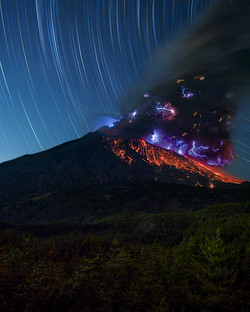 Startrails and Volcano
