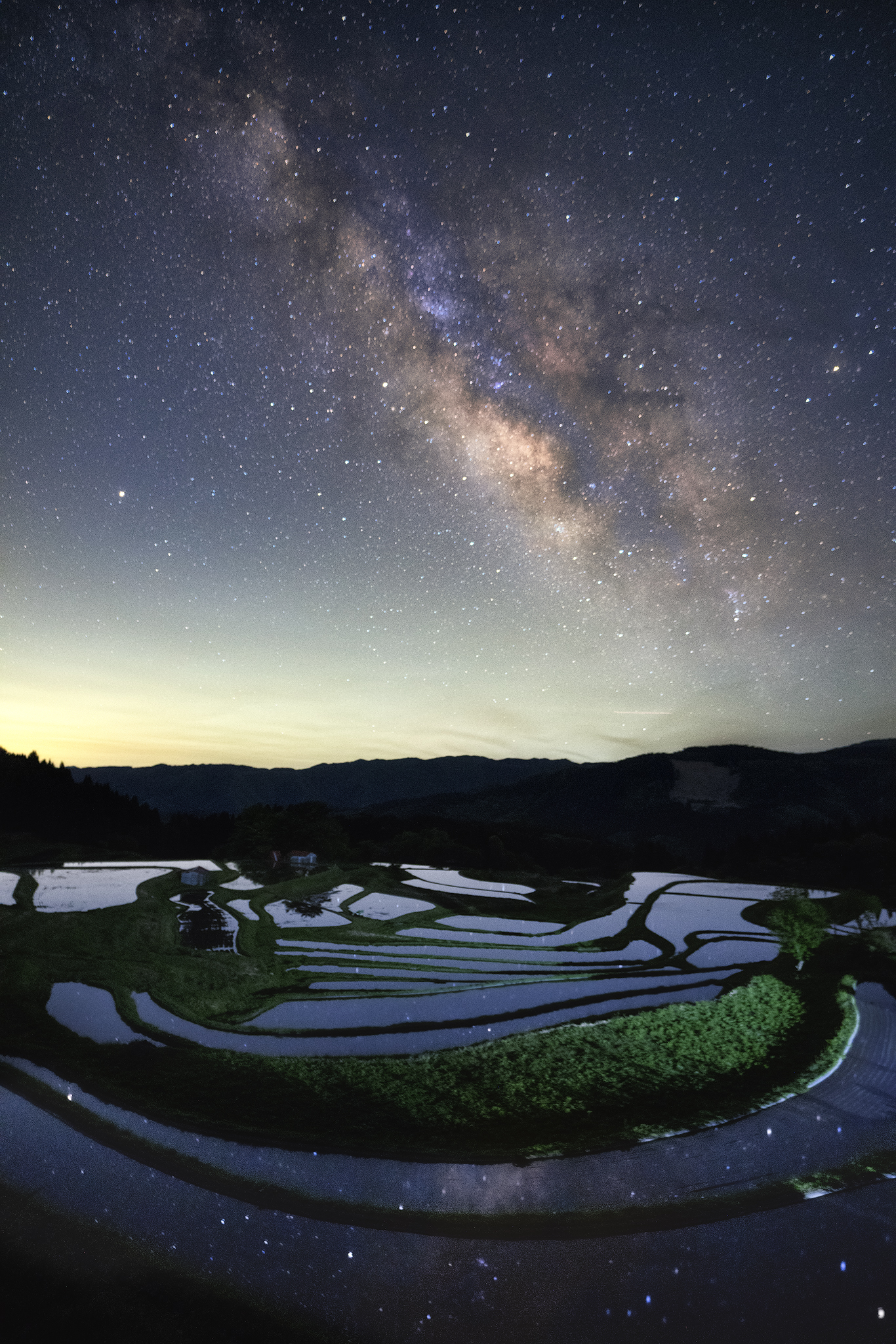 The Milky Way, Paddy Fields and Reflection