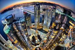City of magic hour Night view