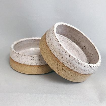 Speckled White Dog Bowl set