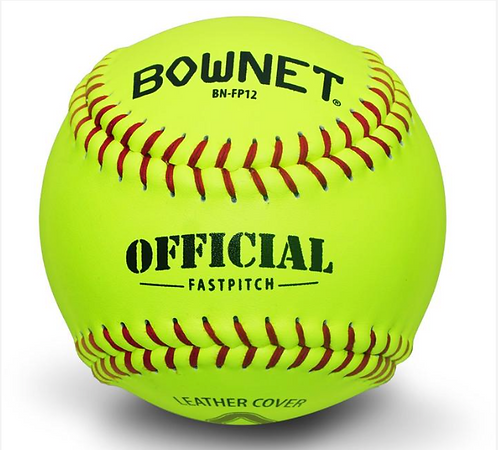 "Bownet - 1 dozen 12"" Optic Yellow Leather Fastpitch Softballs"