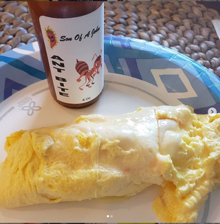 cool_hot_sauce_reviews Quarantine hair, @sonofajohnsauce Ant Bite and an egg beater omelet. What a great Monday!