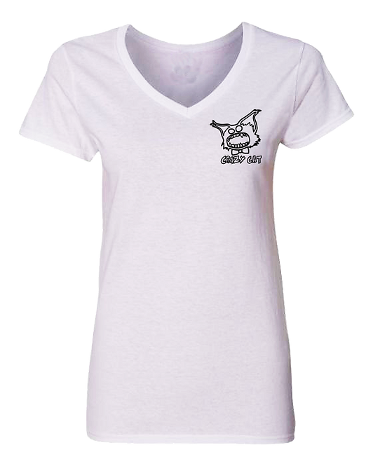 Women V-Neck T-Shirt Crazy Cat Embroiled Collection Style WCAT-6000