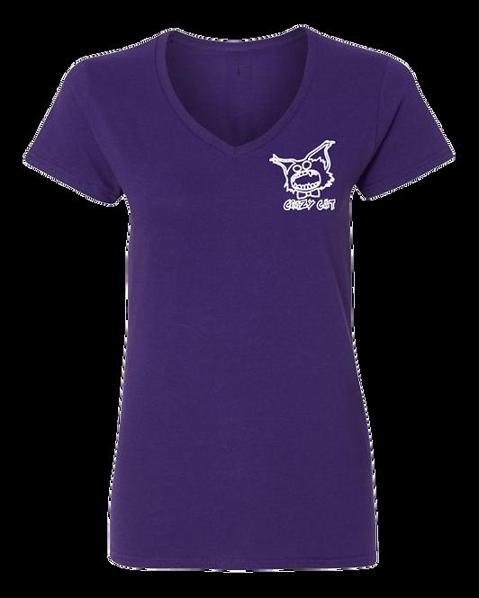 Women V-Neck T-Shirt Crazy Cat Style WCAT-6003 (Pack of 6 Pcs)