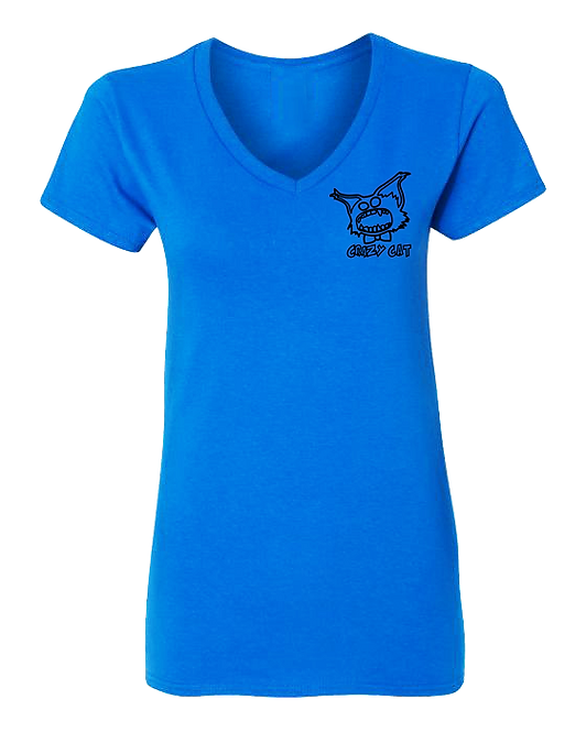 Women V-Neck T-Shirt Crazy Cat Embroiled Collection Style WCAT-6001