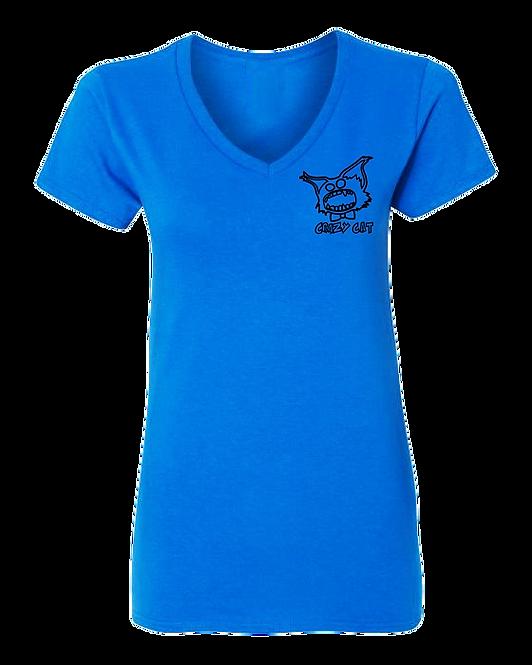 Women V-Neck T-Shirt Crazy Cat Style WCAT-6004 (Pack of 6 Pcs)