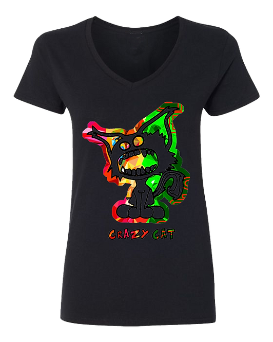 Women V-Neck T-Shirt Crazy Cat 2nd Embroiled Collection Style WCAT-6007