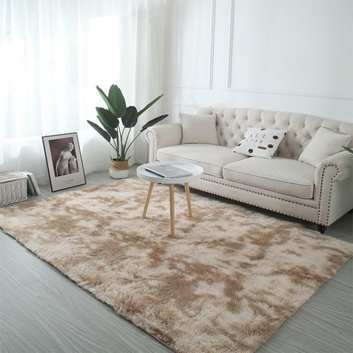 This plush rug uplifts the whole room aesthetics