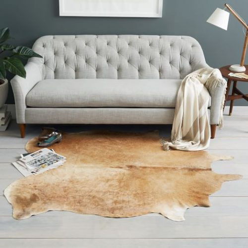 Brown Animal Pattern hide rug in contrast with the rest of the room
