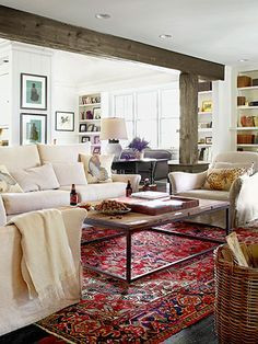 This vintage rug adds color to the room palette