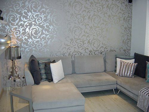 Semi-Gloss wallpaper in drawing-room-Interior Paint Guide