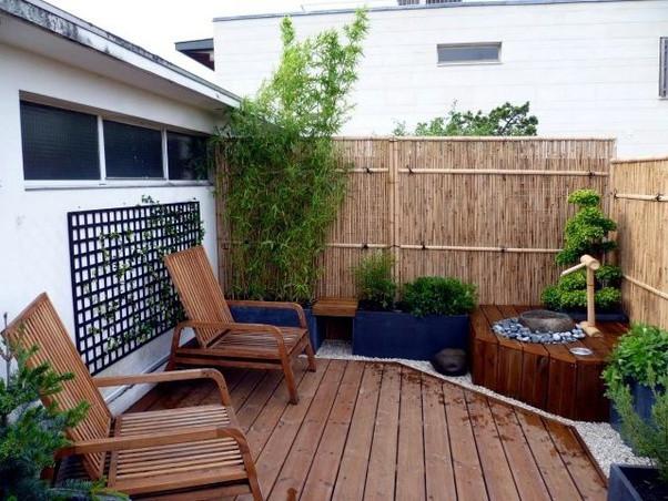 Bamboo screens on terrace