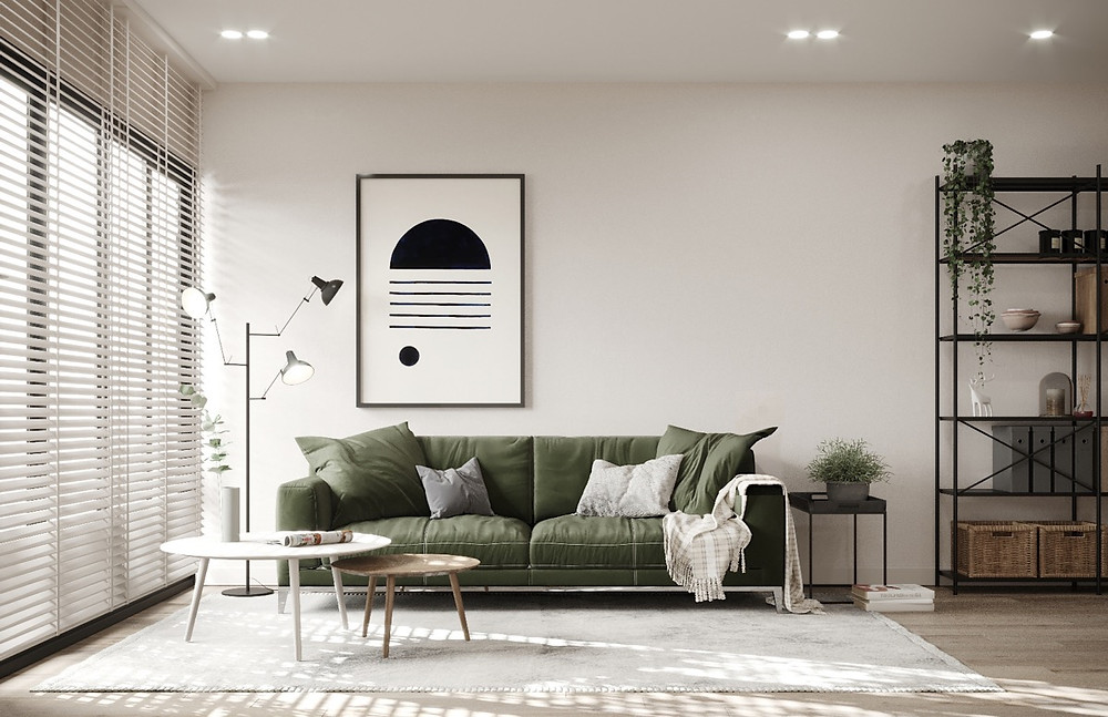 Muted Green Sofa to add color in Scandinavian style