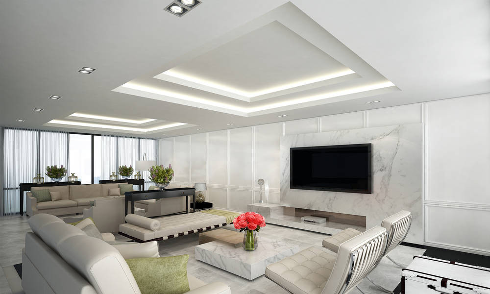 White Ceiling with good lighting