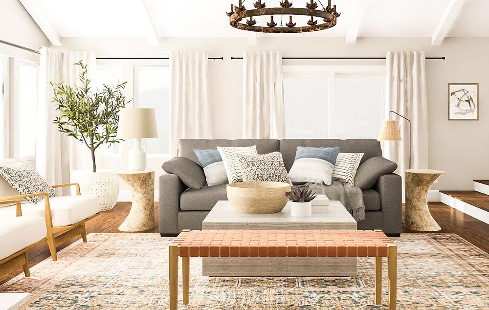 Modern rustic style living room